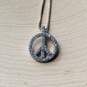 .925 Sterling Silver Crystal Peace Sign Necklace